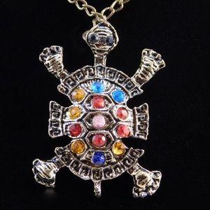 Vintage style rhinestone turtle pendant necklaces.